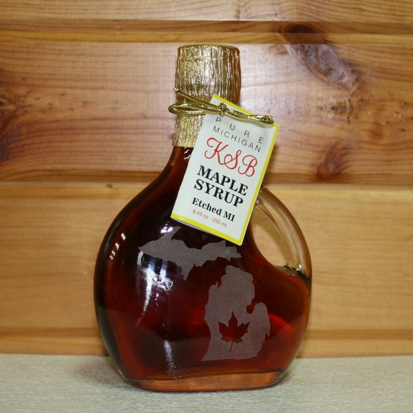 Michigan State Etched Bottle of Maple Syrup
